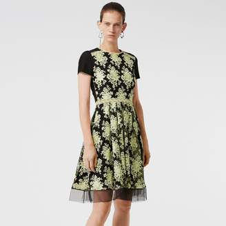 Burberry Short-sleeve Embroidered Tulle Dress , Size: 12, Yellow