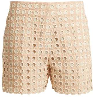 Chloé Embroidered Eyelet Cotton Blend Shorts - Womens - Light Pink
