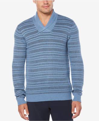 Perry Ellis Men's Marled Shawl Striped Sweater