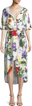 Alice + Olivia Clarine Floral-Print Wrap Dress with Oversize Sleeves