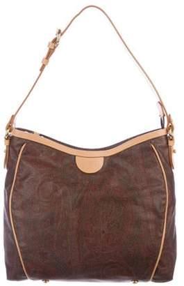 Etro Leather-Trimmed Shoulder Bag Brown Leather-Trimmed Shoulder Bag