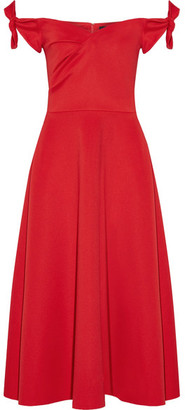Saloni - Ruth Off-the-shoulder Stretch-neoprene Midi Dress - Red $375 thestylecure.com