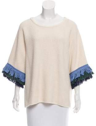 Tory Burch Fringe-Trimmed Crew Neck Sweater