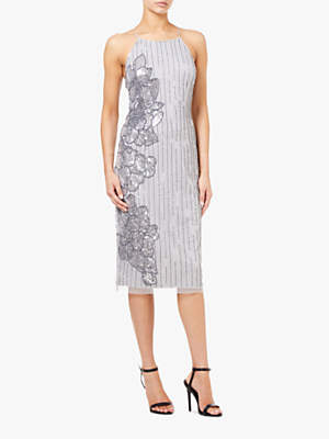 Fitted Beaded Midi Dress, Silver