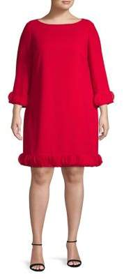 Tahari Arthur S. Levine Plus Ruffle Shift Dress