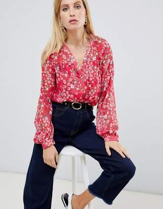 Vila floral sheer blouse