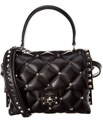 Valentino Candystud Quilted Leather Top Handle Satchel