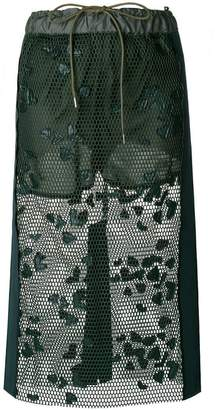 Sacai lace-embroidered midi skirt