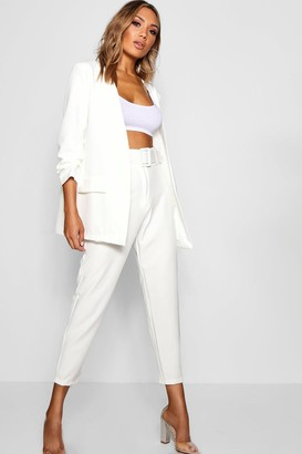 boohoo Wide Buckle Belt Straight Tapered Trouser