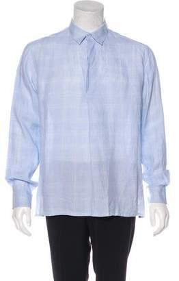 Hermes Plaid Dress Shirt