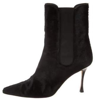 Manolo Blahnik Ponyhair Pointed-Toe Ankle Boots