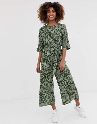 Asos Design DESIGN tie waist jumpsuit in animal print