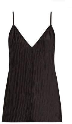Raey V Neck Crinkled Silk Cami Top - Womens - Black