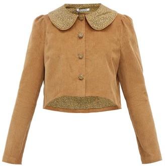 Batsheva Peter Pan Collar Cotton Corduroy Jacket - Womens - Brown