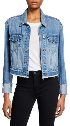 Paige Jo Jo Cropped Denim Jacket w/ Raw Hem