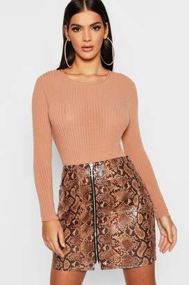 boohoo Snakeskin PU Leather Look Zip Front Mini Skirt