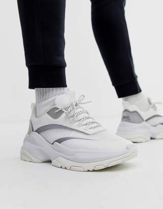 Asos Design DESIGN sneakers in white with transparent ripstop and chunky sole