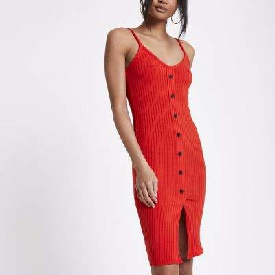 River Island Womens Petite red button front rib bodycon dress