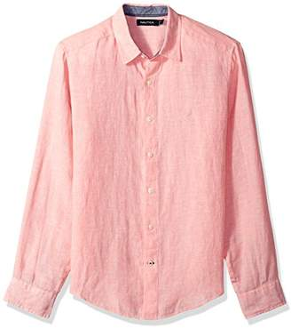 Nautica Men's Long Sleeve Solid Color Button Down Linen Shirt