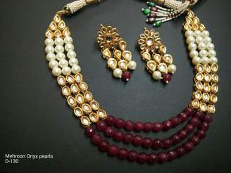 Bamboo Bollywood Bridal Necklace Jewelry Set Indian Traditional Maroon Pearl Kundan Sets