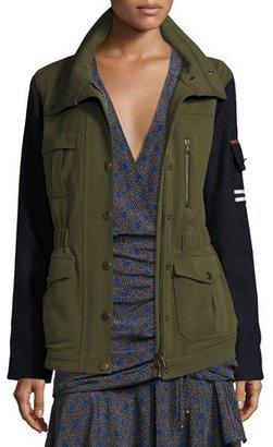 Veronica Beard Skyline Two-Tone Army Jacket, Army Green $695 thestylecure.com
