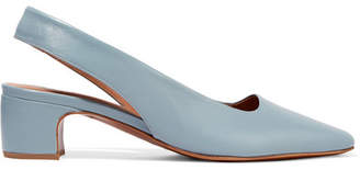 BY FAR - Danielle Leather Slingback Pumps - Sky blue