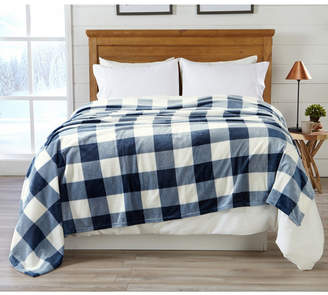 Buffalo David Bitton Great Bay Home Fashions Premium Velvet Luxury Blanket with Check Design - Full-Queen