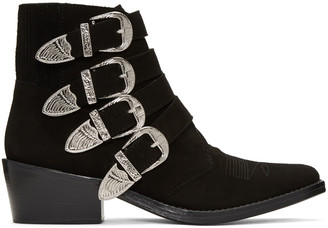 Toga Pulla Black Suede Western Buckle Boots $455 thestylecure.com