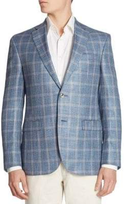 Jack Victor COLLECTION Oversized Plaid Silk Blend Jacket