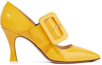 ATTICO Elsa Buckled Patent-leather Pumps - Yellow
