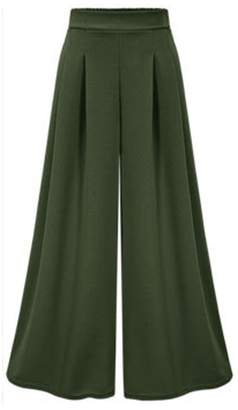 FOURSTEEDS Women's Elastic Waist Wide Leg Casual Palazzo Capri Culottes Pants Plus Size US 10/Tag Size 2XL