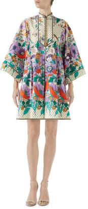 Gucci Long-Sleeve Button-Down Plastron Garden Floral-Print Stars Cotton Dress