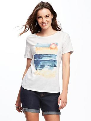 Relaxed Graphic Crew-Neck Tee for Women $14.94 thestylecure.com