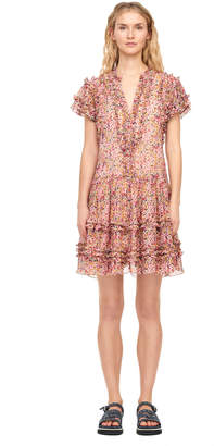 Rebecca Taylor Margo Floral Silk Cotton Voile Dress