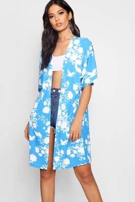 boohoo Blue Oriental Kimono