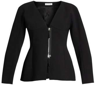 Altuzarra Campion Zip Up Collarless Jacket - Womens - Black