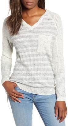 Wit & Wisdom Waffle Knit Stripe Hooded Top