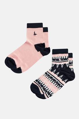 Jack Wills Arden Fairisle 2 Pack Ankle Socks
