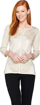 Halston H By H by Special Edition Art Deco Sequin Front Cardigan