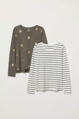 H&M 2-pack Jersey Tops - Green