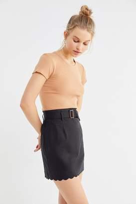 Urban Outfitters Grace Linen Scallop Mini Skirt