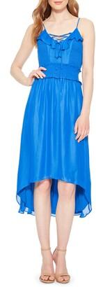 Parker Malta Smocked Silk Blend High/Low Dress