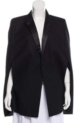 Saint Laurent Satin-Accented Wool Cape w/ Tags