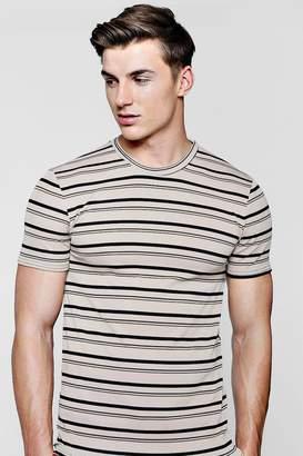 boohoo Muscle Fit Engineered Stripe T-Shirt