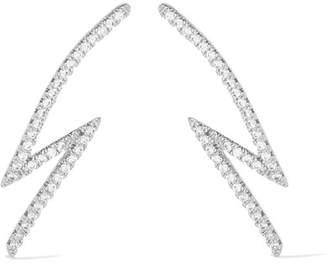 Kenneth Jay Lane Lightning Bolt Silver-plated Cubic Zirconia Earrings