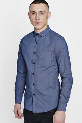 boohoo Smart All Over Print Slim Fit Shirt