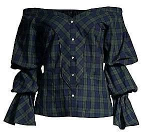 Petersyn Women's Lena Puff-Sleeve Plaid Blouse