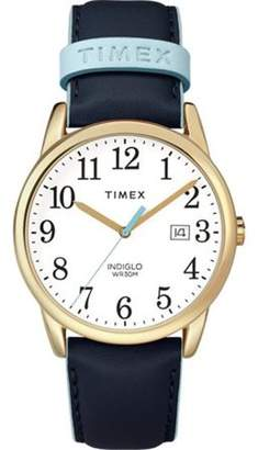 Timex Women's Easy Reader Blue/Gold-Tone Watch, Leather Strap