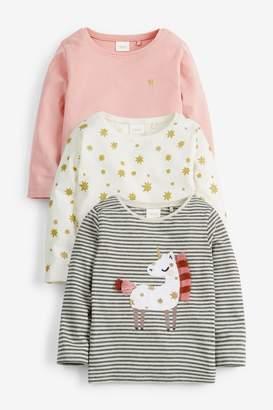 Next Girls Unicorn 3 Pack T-Shirts (3mths-7yrs) - White