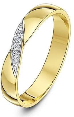 Theia 9ct Yellow Gold 0.04ct Diamond Cross Over 3.5mm Wedding Ring - Size V